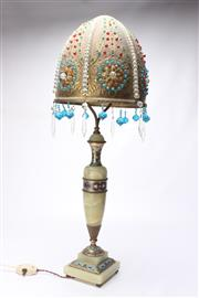 Sale 8689 - Lot 36 - Onyx and Champleve Enamelled Table Lamp