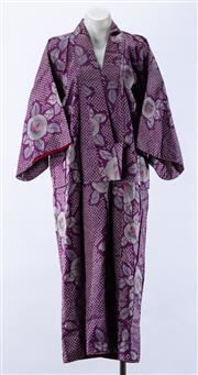 Sale 8910F - Lot 55 - A vintage purple silk kimono with floral and geometric pattern and rasberry cotton interior.