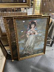 Sale 8924 - Lot 2088 - Two Large Tapestries of a Man and a Woman in Gilt Frames