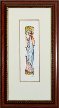 Sale 8934H - Lot 54 - Nelson, Art Nouveau Princess, Watercolour, 82 x 45 cm, signed and dated lower right Nelson 96