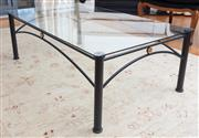 Sale 9005H - Lot 45 - A tubular metal and glass top coffee table, Height 40cm x Width 120cm x Depth 70cm