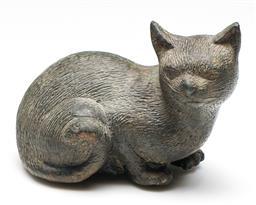 Sale 9246 - Lot 41 - A bronze figure of a seated cat (L:16.5cm)