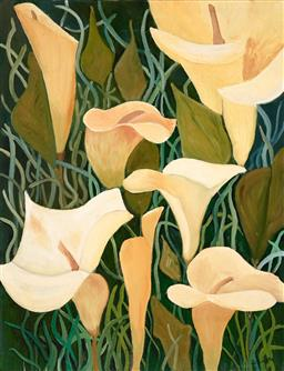 Sale 9252A - Lot 5067 - S. SCHOTLE Calla Lilly acrylic on canvas 130 x 100 cm signed lower right