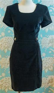 Sale 8448A - Lot 53 - Chic vintage black After Eight velvet cocktail dress featuring 2 gorgeous diamante buttons on front pocket style flaps, beautifully...
