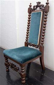Sale 8761A - Lot 90 - A Jacobean style blue velvet upholstered hall chair, Height of back 1m