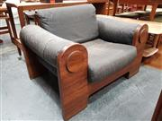 Sale 8801 - Lot 1081 - Unusual Ply Armchair with Faded Leather Seat and Back