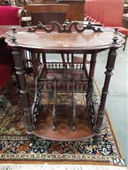 Sale 8868 - Lot 1040 - Victorian Burr Walnut Canterbury Whatnot, with pierced back rail, shaped shelves on turned supports & pierced dividers below