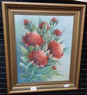 Sale 9019 - Lot 2030 - O. fordham  Waratahs, oil on canvas board, frame: 37 x 32 cm, signed lower right