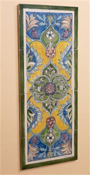 Sale 9071H - Lot 68 - Judy Chapman Iznik style ceramic tile panel, 75cm x 30cm