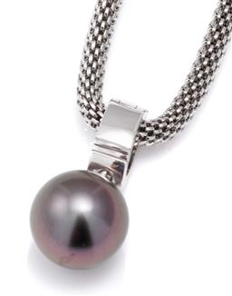 Sale 9115 - Lot 390 - A TAHITIAN PEARL ENHANCER PENDANT; 12mm round cultured pearl of good colour and lustre to a 5mm wide 9ct white gold enhancer bale, l...