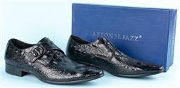 Sale 9092F - Lot 2 - A PAIR OF ASTONM JAZZ MENS DRESS SHOES; in pressed leather in an alligator design, with buckle to side. Size 10