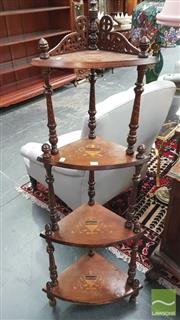 Sale 8404 - Lot 1032 - Victorian Inlaid Corner What-Not with Turned Spiral Supports.