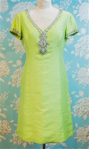 Sale 8448A - Lot 54 - Exquisite 1960s chartreuse diamante/beaded shift dress featuring gorgeous diamante beading detail around the neckline and sleeves,...