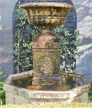 Sale 8575H - Lot 4 - A stone water feature and bird bath in classical form, including 4 feet and water pump, total height is 130cm, diameter is 72cm.