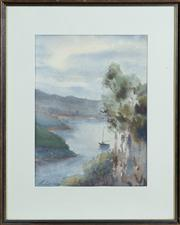 Sale 8595A - Lot 61 - Elizabeth Wadsworth - Watercolour 9, View of Middle Harbour 39 x 29cm (foxing)