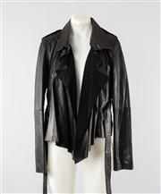 Sale 8740F - Lot 98 - A Whistles black leather jacket with suede lapels, size medium
