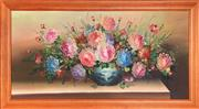 Sale 8941 - Lot 2049 - Artist Unknown - Chrysanthemums in Chinese Blue & White Vase acrylic on board, 74.5 x 134cm (frame)