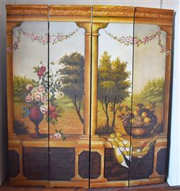 Sale 9200P - Lot 94 - A hand painted four fold screen, depicting a view through a colonnade, Height 180cmx Width 160cm