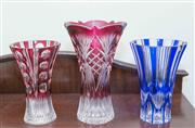 Sale 8368A - Lot 75 - Three Bohemian flashed and cut glass vases, tallest H 25cm
