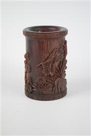Sale 8381B - Lot 42 - Chinese Carved Brush Pot, Raised Lotus Design; H13cm