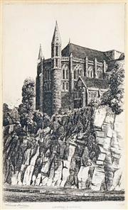 Sale 8622 - Lot 2025 - Vincent Sheldon (1895 - 1945) - St Johns Cathedral & Cutting, 1930 25 x 15cm