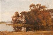 Sale 8642 - Lot 575 - Dirk Gerard Ezerman (1848 - 1913) - River Scene 32.5 x 48.5cm