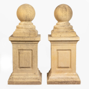 Sale 8795A - Lot 5 - A pair of cast stoneware garden spheres raised over square form plinths, total height 84cm