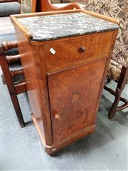 Sale 8848 - Lot 1020 - Late 19th Century French Walnut Bedside Cabinet, with grey mottled marble & low gallery, above single drawer & door