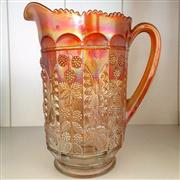 Sale 8878T - Lot 15 - Marigold Carnival Glass Jug, Decorated with Butterflies and Blackberry Vines, Height 23cm
