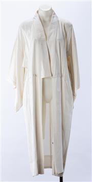 Sale 8910F - Lot 6 - A vintage cream jacquard silk kimono with floral design