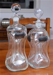Sale 9005H - Lot 50 - A graduated pair of waisted kluk decanters together with Whitehill EP bottle tickets for Gin, Brandy and Whiskey, Height of taller 30cm