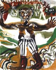 Sale 9013 - Lot 568 - Joe Furlonger (1952 - ) - Footballer, 1996 151.5 x 120.5 cm (frame: 163 x 132 x 2 cm)