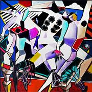 Sale 9047 - Lot 568 - Suzie Marston (1952 - ) - Three Figures & Interior 180 x 180 cm