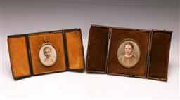 Sale 9122 - Lot 56 - Framed Miniature Portraits On Ivory, One in .375 Gold Frame (Both unsigned)