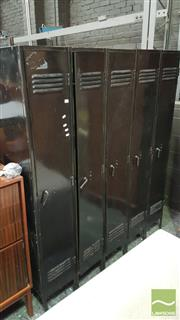 Sale 8390 - Lot 1335 - Bank of 5 Painted Lockers