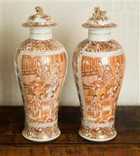 Sale 8392H - Lot 24 - A pair of Oriental Meiping lidded vases decorated with scenes of daily life with fo dog finial, a/f to both lids, H 32cm