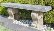 Sale 8575H - Lot 2 - A composite stone garden bench, with scrolled legs, in 3 pieces