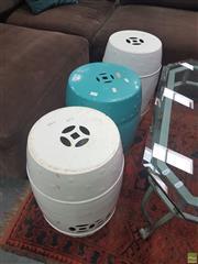 Sale 8620 - Lot 1017 - Set of 3 Oriental Stools
