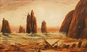 Sale 8675 - Lot 584 - Charles Frederick Gerrard (1849 - 1904) - Shipwreck near Port Campbell, VIC, 1888 29 x 45cm