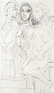 Sale 8704 - Lot 575 - Pablo Picasso (1881-1973) - Sculptor, Model with Sculpture of Seated Woman, 1939 31.5 x 18cm