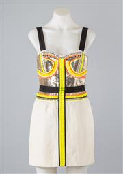 Sale 8685F - Lot 14 - A Sass and Bide The Happiness embroidered silk/linen blend mini-dress, size AUS 8