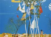 Sale 8708A - Lot 529 - Louis James (1920 - 1996) - Harbour Sunday(z) 74.5 x 99cm