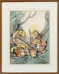 Sale 8934H - Lot 56 - Antony Bishop, The rat inquisition, watercolour, 36cm x 28cm Signed lower right