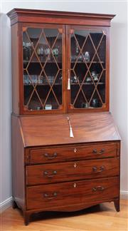 Sale 9005H - Lot 49 - A late C18th mahogany bureau/ bookcase with astragal glazed doors over three drawers, opening to reveal a fitted interior, Height 21...