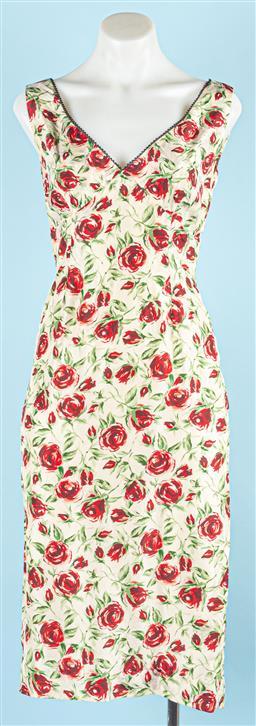 Sale 9091F - Lot 53 - A COLLETTE DINNIGAN CREAM FLORAL SLEEVELESS DRESS; size S