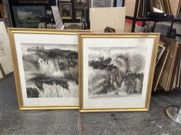 Sale 9087 - Lot 2057 - Chinese School (2 works) Mountain Landscapes ink and wash 91 x 101cm, each