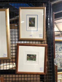 Sale 9147 - Lot 2063 - Yngvar Stroem-Hansen (two works) Spotted Pardalis & Eastern Spinebill handcoloured woodcut,  editioned frame: 25 x 25 & 28 x 22 cm