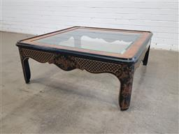 Sale 9154 - Lot 1028 - Chinese Ebonised glass top coffee table (h:41 x w:106 x d:106cm)