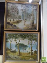Sale 8513 - Lot 2036 - Artist Unknown (2 works) Country Scenes, oil paintings, each 60 x 70cm & signed lower right