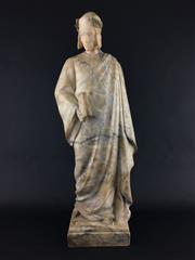 Sale 8545N - Lot 155 - Alabaster Statue of Dante, signed R. Aurili (H: 65cm)